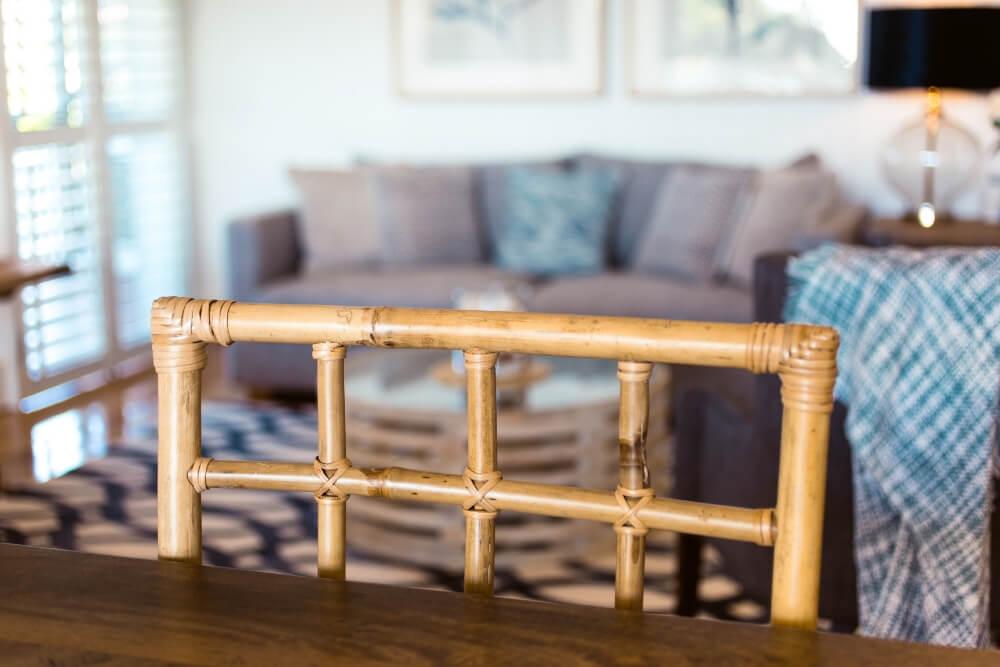 cane furniture blue grey cushion arrangement