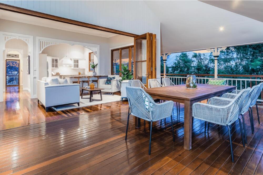 glossy floorboards inside outside living