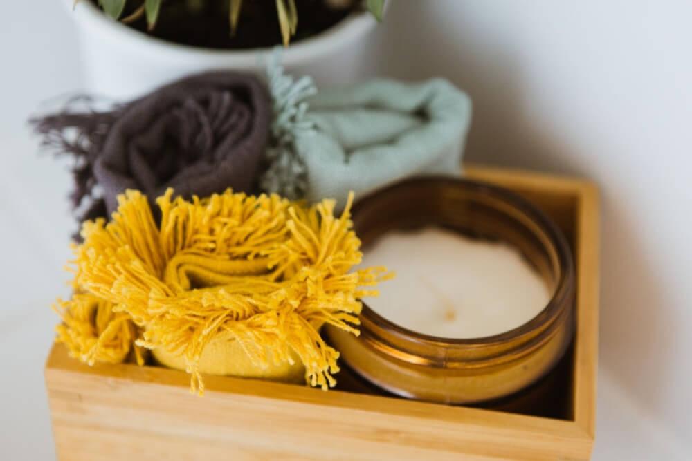 mustard throw rug candle box