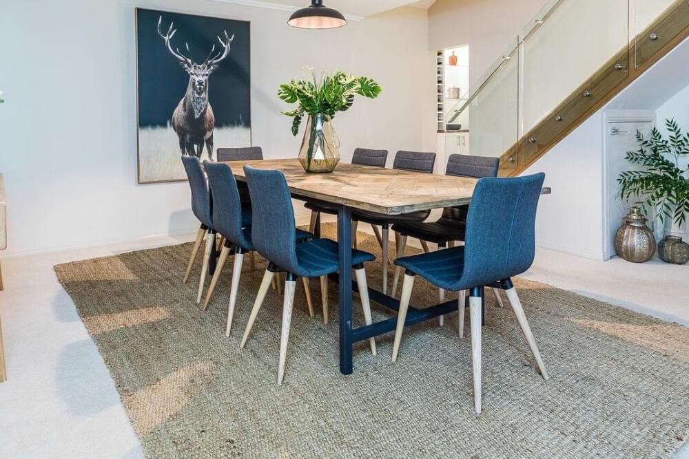 navy textured rug dining