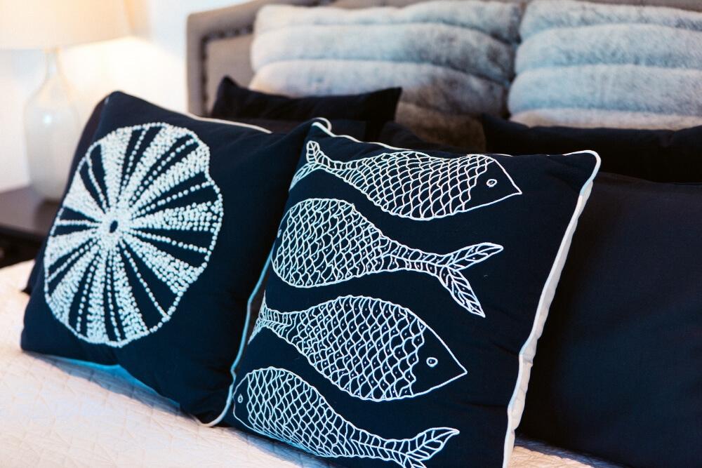 unique cushion design black white lineart